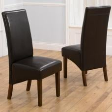 Inova Dining Chair In Brown PU With Dark Walnut Legs In A Pair