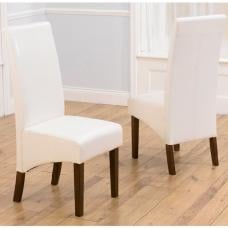 Inova Dining Chair In Ivory PU With Dark Walnut Legs In A Pair
