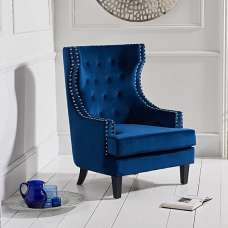 Irina Modern Accent Chair In Blue Velvet With Black Legs
