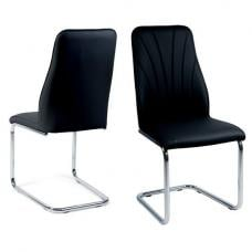 Irma Dining Chairs In Black Faux Leather In A Pair