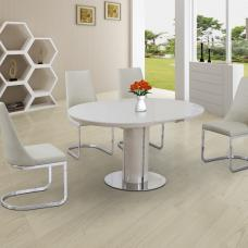 Italia Glass Extendable Dining Table In Cream Gloss