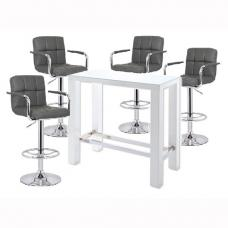 Jam Glass Bar Table In White Gloss And 4 Glenn Grey Bar Stools