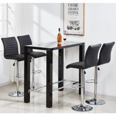 Jam Glass Bar Table Set Rectangular Black Gloss 4 Ripple Stools