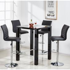 Jam Glass Bar Table Set Square In Black Gloss 4 Ripple Stools