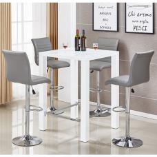 Jam Glass Bar Table Set In White Gloss 4 Ripple Grey Stools