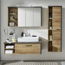 Java Wall Mount Bathroom Set In Oak Dark Cement Grey LED