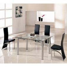 Alicia Glass Extending Dining Table In Clear With 6 G501 Chairs