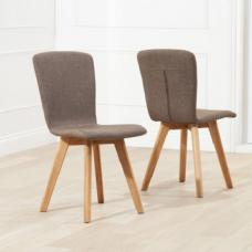 Javelin Dining Chairs In Brown Fabric In A Pair