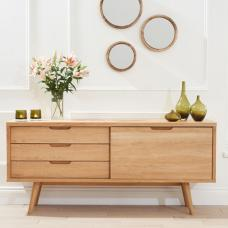 Javelin Sideboard In Oak With 3 Drawers And Sliding Door