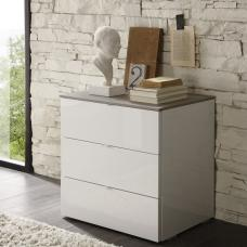 Jaxon Drawers Chest Small In Glossy White Lacquer And Grey Top