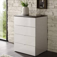 Jaxon Drawers Chest In Glossy White Lacquer And Grey Top