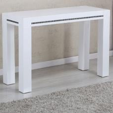 Diamante Console Table In White High Gloss With Rhinestones