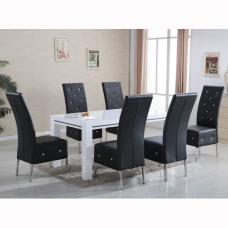 Diamante High Gloss Dining Table With 6 Asam Black Chairs