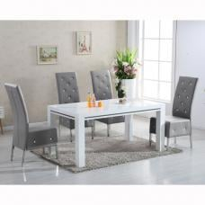 Diamante High Gloss Dining Table With 6 Asam Grey Chairs