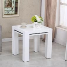Diamante Square Lamp Table In White High Gloss