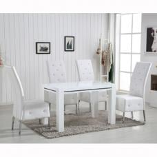 Diamante High Gloss Small Dining Table With 4 Asam White Chairs
