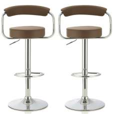 Jerome Modern Bar Stool In Cappuccino Faux Leather In A Pair