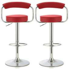 Jerome Modern Bar Stool In Red Faux Leather In A Pair