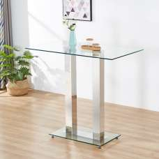 Jet Glass Bar Table Rectangular In Clear With Chrome Supports