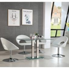 Jet Small Glass Dining Table In Clear With 4 Polo White Chairs