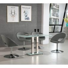 Jet Small Glass Dining Table In White With 4 Polo Grey Chairs