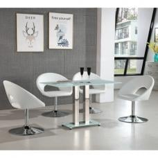 Jet Small Glass Dining Table In White With 4 Polo Chairs