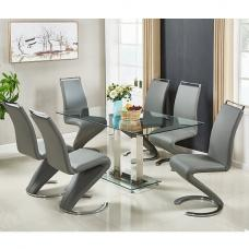 Jet Large Glass Dining Table In Clear And 6 Summer Grey Chairs