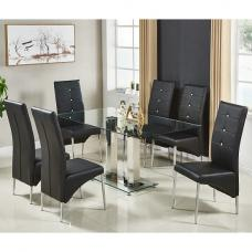 Jet Large Glass Dining Table In Clear And 6 Vesta Black Chairs