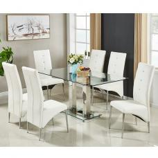 Jet Large Glass Dining Table In Clear And 6 Vesta White Chairs