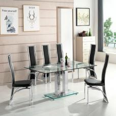 Jet Large Glass Dining Table In Clear And 6 Chicago Black Chairs