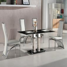 Jet Small Black Glass Dining Table With 4 Chicago White Chairs