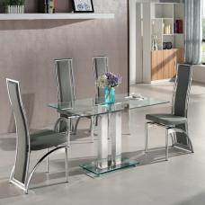 Jet Small Clear Glass Dining Table With 4 Chicago Grey Chairs