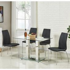 Jet Small Glass Dining Table In Clear With 4 Opal Black Chairs