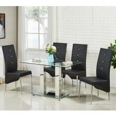 Jet Small Glass Dining Table In Clear With 4 Vesta Black Chairs