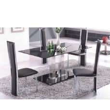 Jet Large Black Glass Dining Set And 6 Dining Chairs