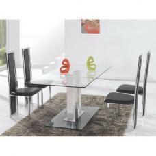 Jet Large Clear Glass Dining Set And 6 Black Dining Chairs