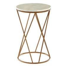 Jolene Marble Side Table Round In White With Gold Cross Base
