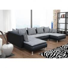 Jonas Fabric And PU Corner Sofa Bed In Black And Grey