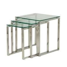 Joyce Glass Nest Of 3 Tables In Clear With Silver Legs