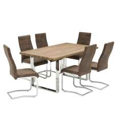 Justin Wooden Dining Table In Rustic Oak With 6 Brown Chairs