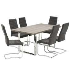 Justin Wooden Dining Table In Grey Oak With 6 Dining Chairs