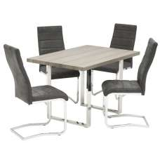 Justin Small Dining Table In Grey Oak With 4 Dining Chairs