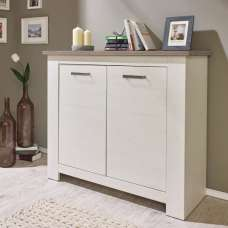 Kaira Small Sideboard In White Pine And Nelson Oak With 2 Doors