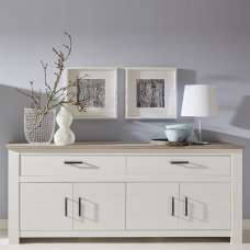 Kaira Sideboard Large In White Pine And Nelson Oak With 4 Doors