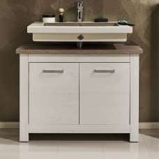 Kaira Wooden Vanity Cabinet In White Pine And Nelson Oak