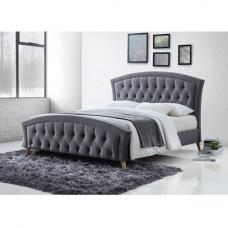 Kansas Fabric Bed In Grey With Curved Wooden Legs