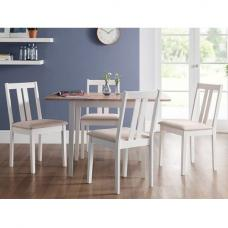 Kassia Wooden Extendable Dining Set In Ivory Off White 4 Chairs