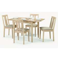 Kassia Wooden Dining Table In Natural With Four Dining Chairs