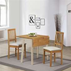 Keira Wooden Drop Leaf Dining Set In Cream And Oak