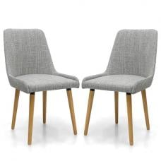 Kelcy Dining Chair In Grey Weave With Wooden Legs In A Pair